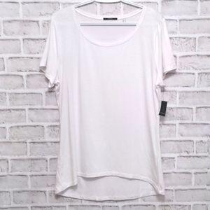 Tahari NWT White Scoop Neck Tee Size XL